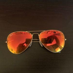 Orange Mirrored Ray-Ban Aviators